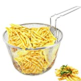 9' Medium Stainless Steel Deep Fry Basket Round Wire Mesh French Chip Frying Serving Food Presentation Tableware With Detachable Handle Fit For Up To 5/6L Pot