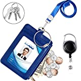 Badge Holder with Zipper, Life-Mate PU Leather ID Badge Card Holder Wallet Case with 5 Card Slots, 1 Side Zipper Pocket & 19' Polyester Neck Lanyard and Heavy Duty Metal Retractable Badge Reel (Blue)