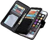 Prime Deals 2018 iPhone 8Plus Wallet Case,iPhone 7Plus Wallet Case,Valentoria Premium Vintage Leather Wallet Case Magnetic Detachable Slim Back Cover Card Holder Slot Wrist Strap(iPhone 7 Plus,Black)