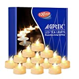 AGPtEK Tea Lights,100 Pack Flameless LED Candles Battery Operated Tealight Candles No Flicker Long Lasting Tealight for Wedding Holiday Party Home Decoration(Warm White)