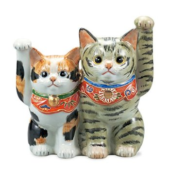 "Japanese drawn Ceramic Porcelain kutani ware. Fortune cat. Lucky cat. Beckoning cat. Tortoiseshell."" Japanese ceramic Hagiyakiya 1417"