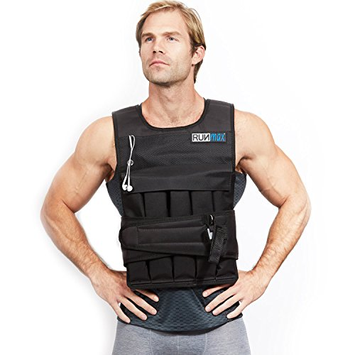 RUNMax Pro Weighted Vest 12lbs/ 20lbs/ 40lbs/ 50lbs/ 60lbs with Shoulder Pads Option (with Shoulder Pads, 60lbs)