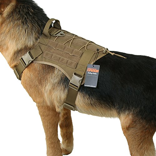 EXCELLENT ELITE SPANKER Tactical Service Dog Vest Military Patrol K9 Dog Harness Nylon Molle Adjustable Dog Vest Harness with Handles(Brown-M)