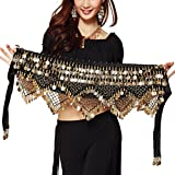 Pilot-tradeWomen's Sweet Bellydance Hip Scarf With Gold Coins Skirts Wrap Noisy Black