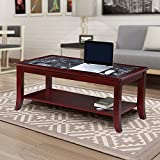 """Product review for Olee Sleep 18"""" Dark Emperador Coffee Table / Black Natural Marble (From Italy) Top / Cherry Finish Solid Wood Base"""