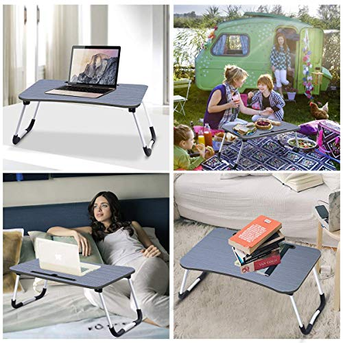 51yFJ1xK9IL - Barbieya Notebook Table Dorm Desk, Dormitory with Small Desk, Bed with Laptop Table, Folding Table, Breakfast Tray Reading Stand Desk with Cup Slot (60 × 40cm)