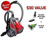 Ovente ST2620R Bagless Canister Cyclonic Vacuum – HEPA Filter – Includes Pet/Sofa, Bendable Multi-Angle, Crevice Nozzle/Bristle Brush, Retractable Cord – Featherlite – ST2620 Series, Red