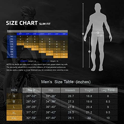 Souke Sports Men's Bicycle Pants 4D Padded Road Bike Tights Breathable Cycling Long Leggings 7