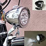 GOODKSSOP Bright 6 LED Metal Shell Front Light for Bicycle Headlight Retro Bike Head Lamp Classical Vintage Night Riding Safety Cycling Fog Light Strobe Headlamp with Bracket (Silver)