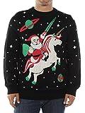 Tipsy Elves Men's Santa Unicorn Christmas Sweater XX-Large Black