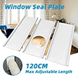 Jeacent Portable Air Conditioner Window Seal Plates Kit, Plastic AC Vent Kit for Sliding Glass Doors and Windows, Adjustable Length Panels for Exhaust Hose of 5' Diameter