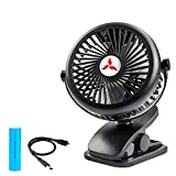 Zonhood Battery Operated Clip On Fan, USB Mini Portable Desk Fan, 2200mAh Rechargeable Battery Powered Fan, 3 Adjustable Speeds, Portable Table Fan for Office, Home and Outdoor Travel