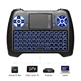 (2019 Latest, Backlit) ANEWISH 2.4GHz Mini Wireless Keyboard with Touchpad Mouse Combo, Rechargable Li-Ion Battery & Multi-Media Handheld Remote for Google Android TV Box, PS3, PC, Pad