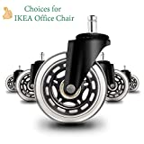 Anyke 3' Office Chair Caster Wheels Swivel Heavy-Duty Replacement Fit for Most Furniture Rollerblade Style Set of 5 (Stem Size for IKEA 10x22mm)