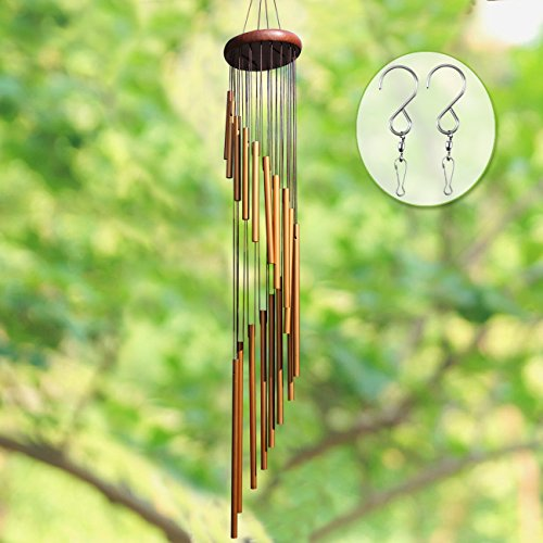 """Long Wind Chimes Outdoor, UPGRADED 36"""" Wind Chimes Amazing Grace with 18 Aluminum Alloy Tubes Large Wind Chimes with Free 2 Pack Hooks, Perfect Decoration for Patio, Balcony and Indoor (Golden)"""