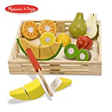 Melissa & Doug Cutting Fruit Set (Wooden Play Food, Attractive Wooden Crate, Introduces Part and Whole Concepts, 17-Piece Set)