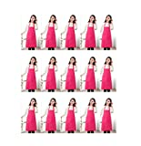 TSD STORY Total 15 PCS Plain Color Bib Apron Adult with 2 Front Pocket Hot Pink
