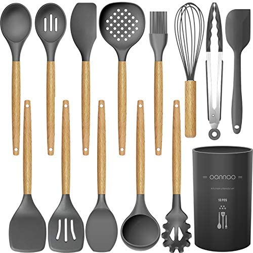 14 Pcs Silicone Cooking Utensils Kitchen Utensil Set – 446°F Heat Resistant,Turner Tongs,Spatula,Spoon,Brush,Whisk. Wooden Handles Gray Kitchen Gadgets Tools Set for Nonstick Cookware (BPA Free)