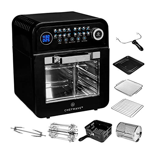 ChefWave 12.6 Quart Air Fryer, Rotisserie and Dehydrator – Large Capacity 1600W Oil Free Cooker with 16 Presets and Cooking Modes - 8 Accessories - Recipes Included