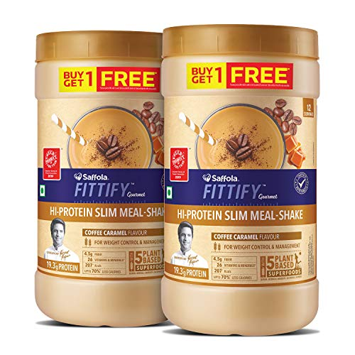 Saffola FITTIFY Gourmet Hi-Protein Slim Meal Shake – Coffee Caramel, 420 gm (Buy 1 Get 1 Free)