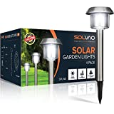 SOLVAO Solar Powered Walkway Lights (Upgraded) - Outdoor LED Inground Lights for Sidewalk, Driveway, Pathway - 10 Lumen Garden Lamps with Vintage Style for Charming Outside Ambiance (4 Pack)