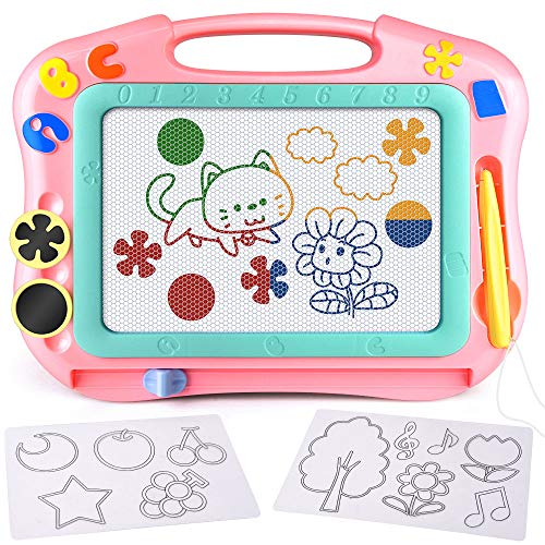 FLY2SKY Magnetic Drawing Board Kids Magna Doodle Board Travel Size Toddler Toys Sketch Writing Colorful Erasable Sketching Pad Holiday Birthday Gifts Girl Boy Educational Learning Toy