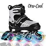 Otw-Cool Adjustable Inline Skates Kids Adults Rollerblades All Wheels Light up, Safe Durable Inline Roller Skates Girls Boys, Men Ladies