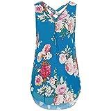 FEITONG 10 Colours Women Loose Plus Size Sleeveless Tank Top Cross Back Hem Layed Zipper V-Neck T Shirts Tops, S-5XL (2XL, X-Blue)