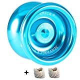 Yomega Maverick - Professional Aluminum Metal Yoyo for Kids and Beginners with C Size Ball Bearing for Advanced yo yo Tricks and Responsive Return + Extra 2 Strings & 3 Month Warranty (Blue)