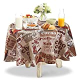 YEMYHOM 100% Polyester Spillproof Tablecloths for Round Tables 60 Inch, Modern Printed Indoor Outdoor Camping Picnic Circle Table Cloth (Coffee Beans)