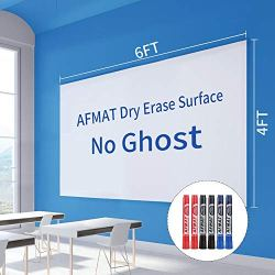 Giant White Board for Wall, Self-Adhesive Whiteboard Wall Sticker,Dry Erase Paper Whiteboard Film Surface for Wall,Residue Free Contact Paper for Kids Drawing,6 Markers,100% PET No Ghost, 6x4ft