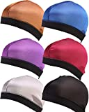 YI HENG MEI 3 Piece/6 Pieces Stretchable Elatic Band Silky Stocking Wave Cap Dome Wig Caps Durag,Group 6(6 Pieces)