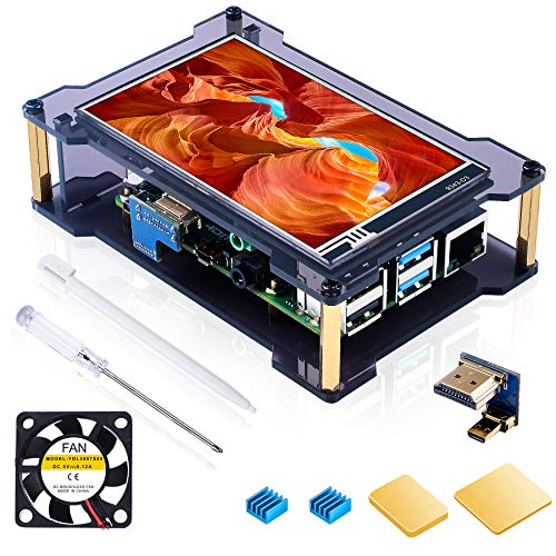 Miuzei-Raspberry-Pi-4-Touchscreen-with-Case-Fan-4-inch-IPS-Touch-Screen-LCD-Display-800x480-HDMI-Monitor-for-RPI-4b-8gb-4gb-2gb-with-Touch-Pen-Heatsinks-Support-RaspbianKaliOctopiUbuntu