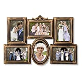 Adeco 6 Opening Antique Gold Detailed Collage Wedding Family Picture Photo Frame - Made to Display Six 4x6 Photos