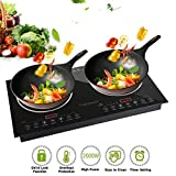 Trighteach Induction Cooktop, 2000W Double Countertop Burner(2 separate heating zones) with Digital Sensor and Kids Safety Lock, 8 Temperature Levels Suitable for Cast Iron Cookware