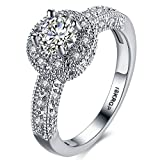 FENDINA Womens Wedding Engagement Ring Classic Solitaire Eternity Love Promise Rings for Her Anniversary Gift Bands - 18K White Gold Plated & CZ Crystal - 7