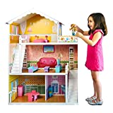 Best Choice Products 44in Height Kids Large 3-Story Multicolor Wooden Open Dollhouse Playhouse Set w/ 5 Rooms, 17 Mini Furniture Pieces