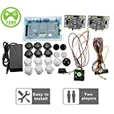 2 Joysticks DIY Kit Bundle Home Family Pandora's Box 5S Arcade Machine 1299 Games Multi-Game Arcade Cabinet DIY Kit Arcade Stick, VGA HDMI Full Set of 2 Players