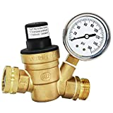 Water Pressure Regulator Valve for Travel Trail Lead Free 3/4' Pressure Regulator Valve Rv Water Pressure Regulator Brass Adjustable with Gauge and Inlet Screened Filter