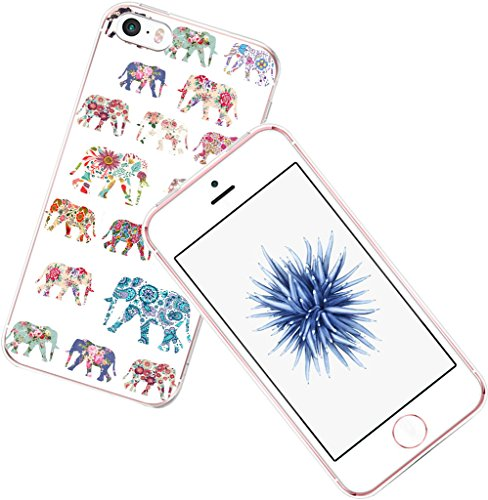 Case for iPhone 5C Elephant - CCLOT Protective Cover Compatible for iPhone 5C Wonderful Elephant Animal Pattern Flower (TPU Protective Silicone Bumper Skin)