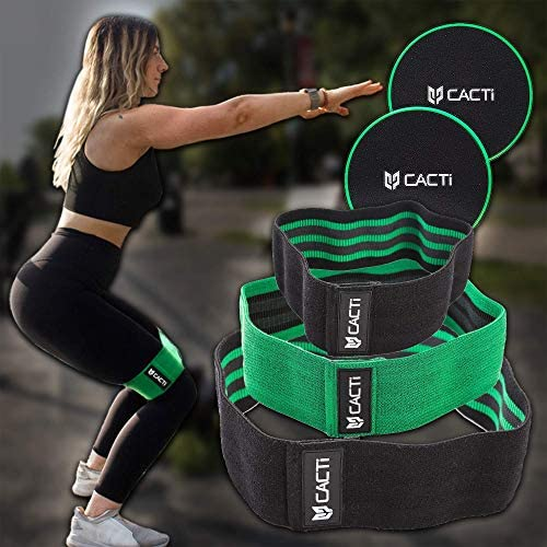 Fabric Resistance Bands & Core Sliders Exercise Set - 3 Booty Bands & 2 Strength Slides for Legs, Butt, Hips, Glutes, Abs, Shoulders & Arms - Non Slip & Non-Rolling (Bands & Sliders) 8
