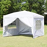 Easyzon EZ Pop Up Patio Canopy Tent Heavy Duty Gazebo Pavilion Outdoor Party Commercial Instant Tents Impact Canopies with Sidewalls,10 x 10 FT,White