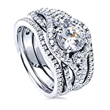 BERRICLE Rhodium Plated Sterling Silver Round Cubic Zirconia CZ 3-Stone Anniversary Engagement Wedding Ring Set 2.36 CTW Size 5.5