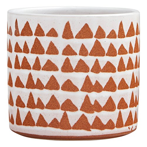 Stone & Beam Modern Ceramic Triangle Decor Planter Pot, 5 Inch, White and Terra Cotta