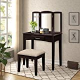 Harper & Bright Designs Vanity Set Make-up Dressing Table with Mirror and Cushioned Stool (Espresso 3)