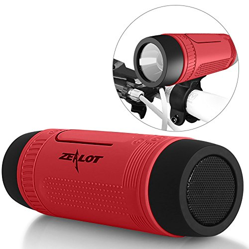 Bluetooth Bicycle Speaker Zealot S1 4000mAh Power Bank Waterproof Speakers with Full Outdoor Accessories(Bike Mount, Carabiner...)(Red)