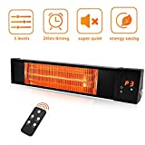 Patio Heater - TRUSTECH Electric Space Heater Infrared heater w/Remote, 24H Timer Overheat Protection, 500/1000/1500W, 3s Instant Heat Quite Easy Install Wall Mount Indoor/Outdoor Backyard Garage
