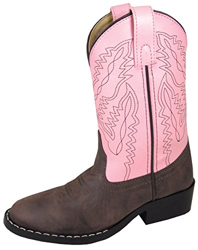 Smoky Mountain Youth Girls Monterey Boots Brown/Pink, 4.5M