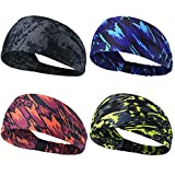 Headbands for Men Women Sweat bands Headbands Non Slip Thin Lightweight Breatheable Durable Head Band Outdoor Sports Workout Yoga Gym Running Jogging (Elastic Band, 4 Pack Black-Gray Blue Red Green)