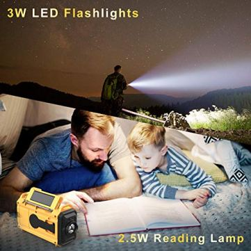 Weather-Radio-Raynic-5000mAh-Solar-Hand-Crank-Emergency-Radio-5-Ways-Powered-AMFMSWNOAA-Weather-Alert-Portable-Radio-with-Flashlight-Reading-Lamp-Cellphone-Charger-and-SOS-Alarm-Yellow